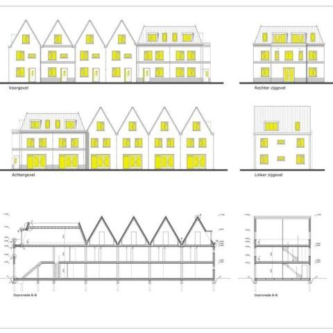 4 woningen en 4 appartementen Gevels en Doorsneden